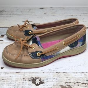 Sperry angelfish plaid sequin slip on  boat shoes